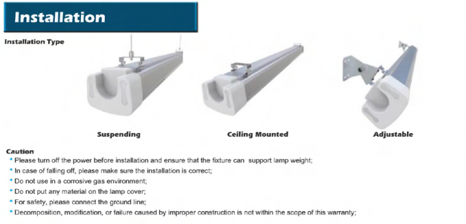 Linear Suspended Industrial Lighting Low Bay 140Lm/W Super High Efficiency