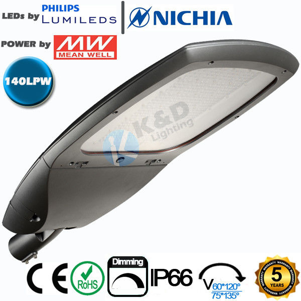 High Efficiency LED Outdoor Street Lights 140Lm/W With 5 Years Warranty